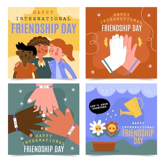 Hand getekend internationale vriendschap dag instagram posts-collectie