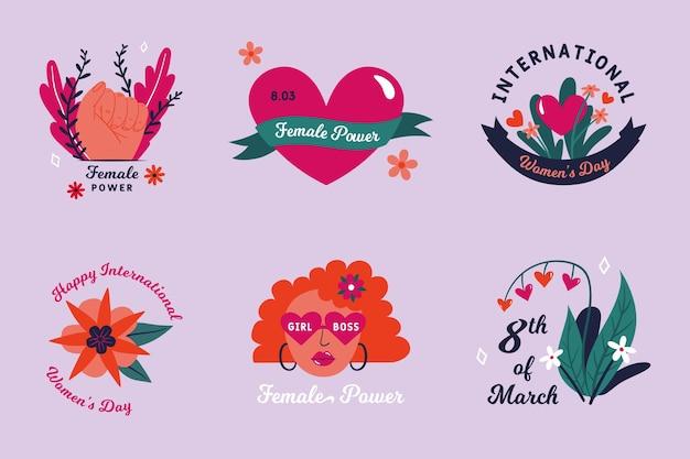 Hand getekend internationale vrouwendag badge-collectie