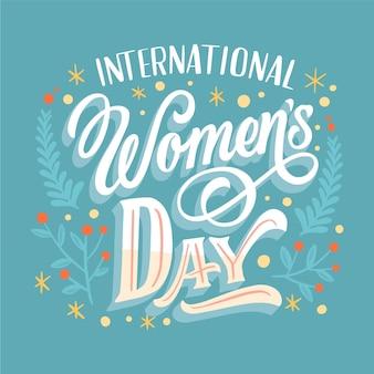 Hand getekend internationale vrouwendag belettering