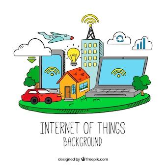 Hand getekend internet van dingen achtergrond