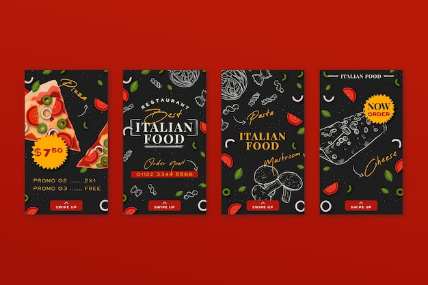 Hand getekend italiaans eten instagram-verhalen Gratis Vector