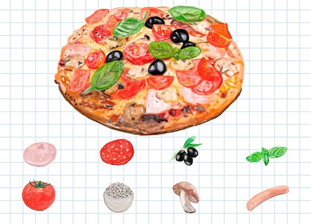 Hand getekend italiaanse pizza aquarel stijl