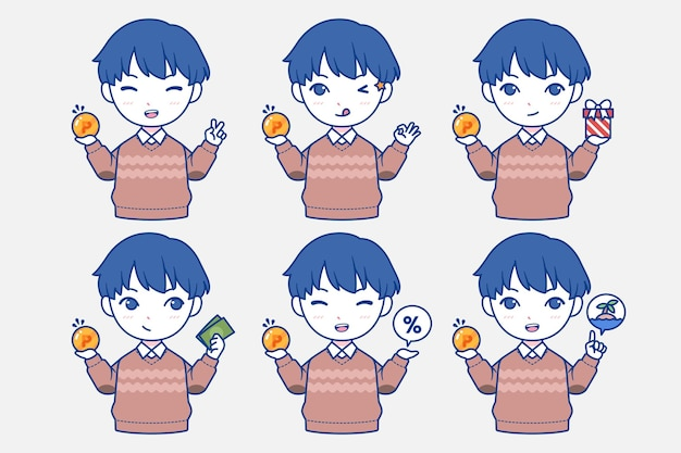 Hand getekend japans blauw personage punten te verzamelen
