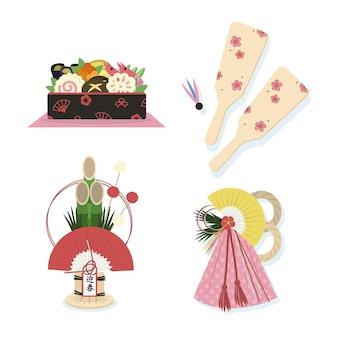 Hand getekend japans nieuwjaar decoratie set