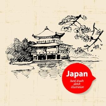 Hand getekend japanse illustratie. schets achtergrond