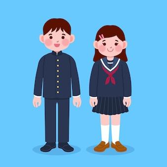 Hand getekend japanse kinderen studenten met uniform