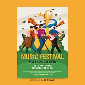 Hand getekend jazz en soul festival poster sjabloon