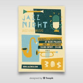 Hand getekend jazz muziek poster sjabloon