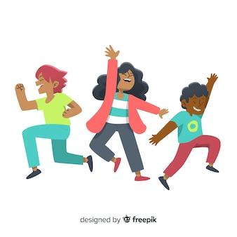 Hand getekend jonge mensen springen