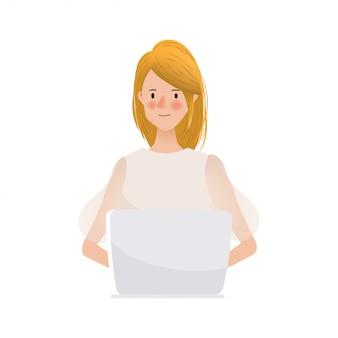 Hand getekend jonge vrouw die op laptop karakter werkt.