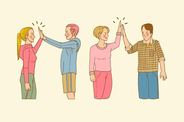 Hand getekend jongeren geven high five collectie