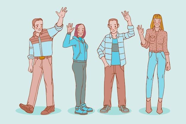 Hand getekend jongeren zwaaien hand pack