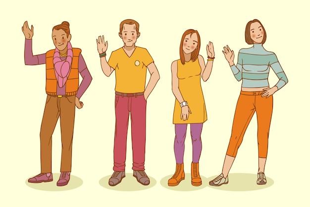 Hand getekend jongeren zwaaien hand set