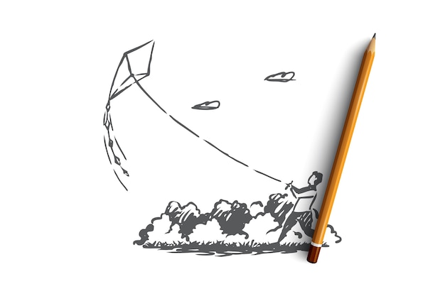 Hand getekend jongetje loopt vlieger in de schets van het park-concept