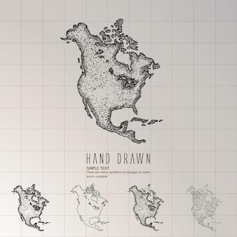 Hand getekend kaart van noord-amerika.