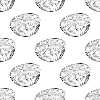 Hand getekend kalk plak naadloos patroon op witte achtergrond. citroen citrusvruchten