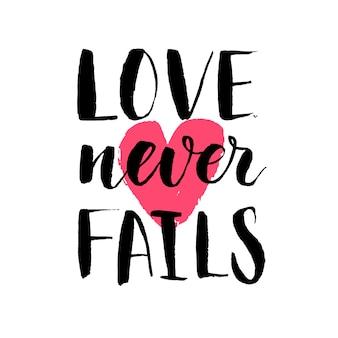 Hand getekend kalligrafie citaat over liefde met rood hart op achtergrond. valentijnsdag vectorillustratie.