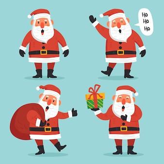 Hand getekend karakterpakket van de kerstman