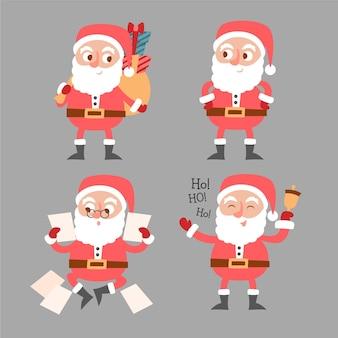 Hand getekend karakterverzameling van de kerstman