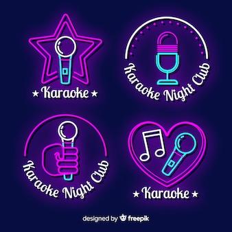 Hand getekend karaoke neonlicht collectie Gratis Vector