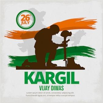 Hand getekend kargil vijay diwas illustratie