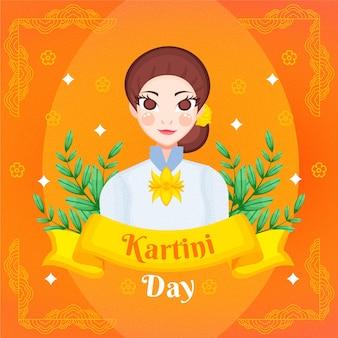 Hand getekend kartini dag illustratie