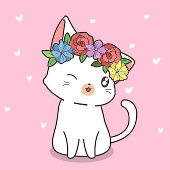 Hand getekend kawaii kat met een bloem kroon
