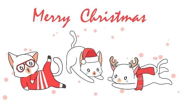Hand getekend kawaii kat tekens in eerste kerstdag