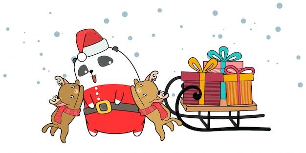 Hand getekend kawaii kerstman en rendieren met een slee