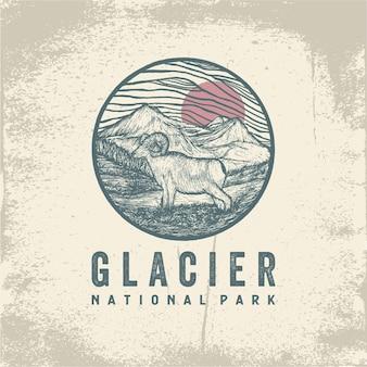 Hand getekend kenteken van glacier national park