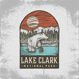 Hand getekend kenteken van lake clark national park