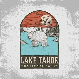 Hand getekend kenteken van lake tahoe national park