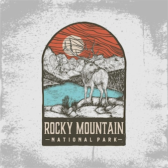Hand getekend kenteken van rocky mountain national park