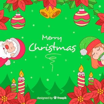 Hand getekend kerst achtergrond met de kerstman