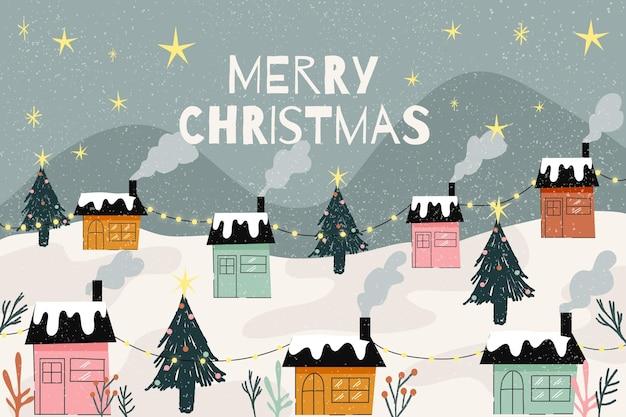 Hand getekend kerst achtergrond met dorp