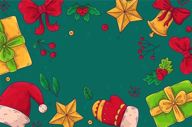 Hand getekend kerst achtergrond met geschenken en hoed
