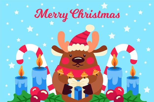 Hand getekend kerst achtergrond met rendieren
