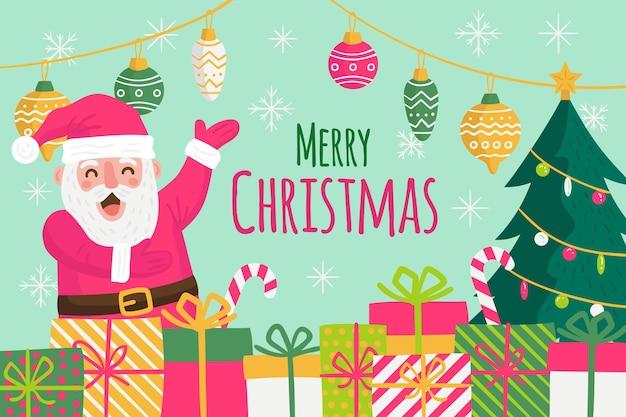 Hand getekend kerst achtergrond met santa en geschenken
