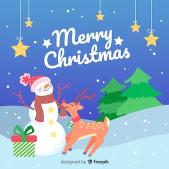 Hand getekend kerst achtergrond met sneeuwpop en rendieren