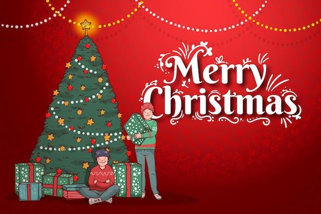 Hand getekend kerst achtergrond