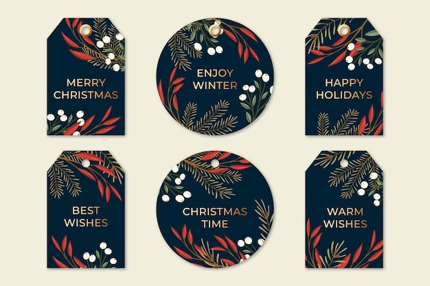 Hand getekend kerst badge collectie