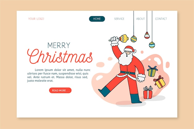 Hand getekend kerst bestemmingspagina sjabloon