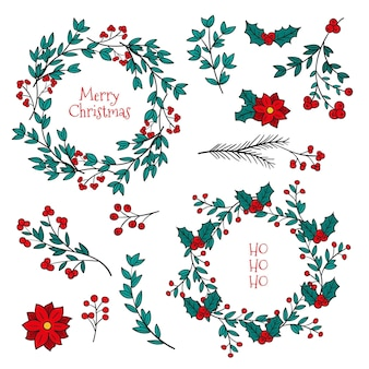 Hand getekend kerst bloem en krans collectie