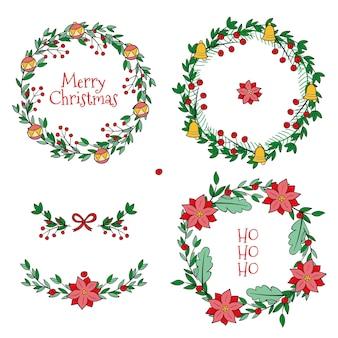 Hand getekend kerst bloem & krans collectie