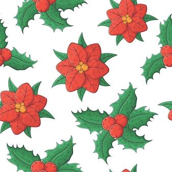 Hand getekend kerst bloemen patroon.