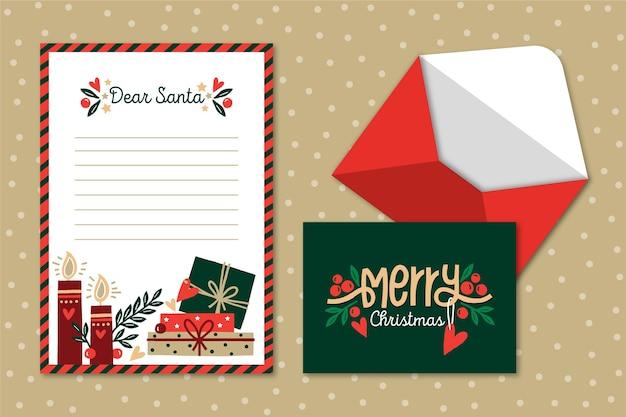 Hand getekend kerst briefpapier sjabloon