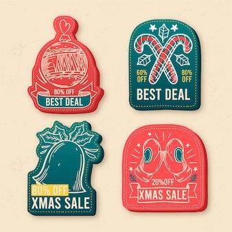 Hand getekend kerst collectie tag collectie