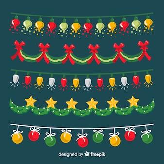 Hand getekend kerst decoratie pack Gratis Vector