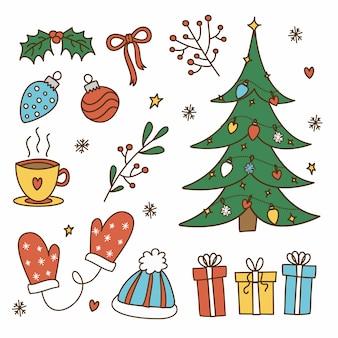 Hand getekend kerst decoratie pack