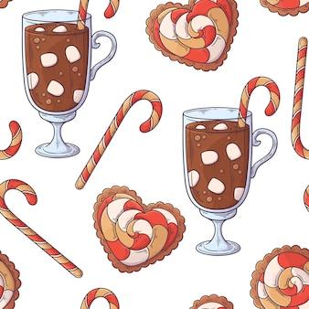Hand getekend kerst drankje patroon.